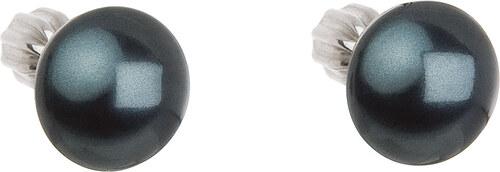 EVOLUTION GROUP Strieborné náušnice kôstka s perlou Swarovski zelené okrúhle  31142.3 tahiti bb5cf190e8c