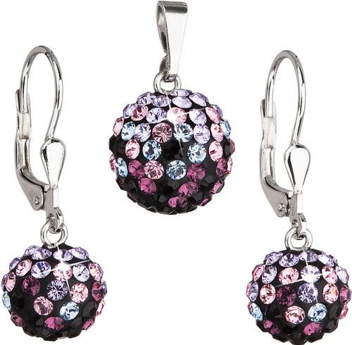 EVOLUTION GROUP Sada šperkov s krištáľmi Swarovski náušnice a prívesok mix  farieb fialové guľaté 39072.3 ea2c7c306c0