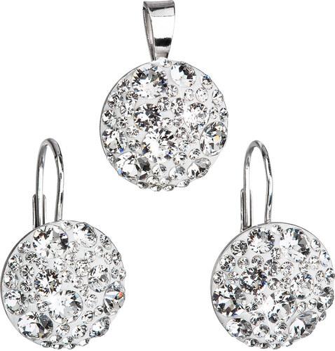 cbed297d4 EVOLUTION GROUP Sada šperků s krystaly Swarovski náušnice a přívěsek bílé  kulaté 39117.1