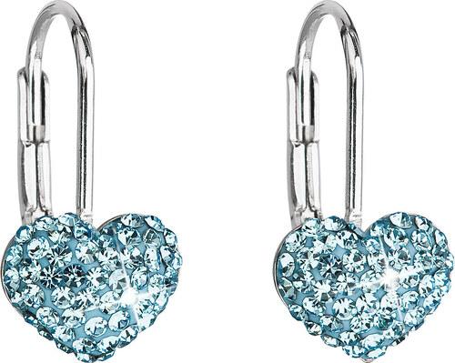 Evolution Group s.r.o. EVOLUTION GROUP Stříbrné náušnice visací s krystaly  Swarovski modré srdce 31125.3 e05b0e2460b