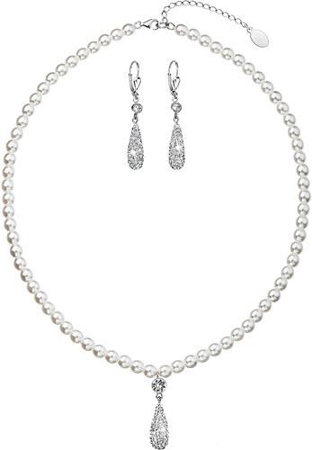 1d0645b0d88 Evolution Group s.r.o. EVOLUTION GROUP Sada šperků s krystaly Swarovski  náušnice a přívěsek bílé perly slza