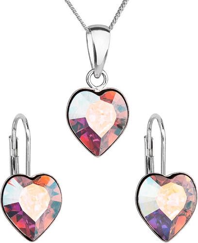 a90b447c8 EVOLUTION GROUP Sada šperků s krystaly Swarovski náušnice, řetízek a přívěsek  AB efekt srdce 39141.2