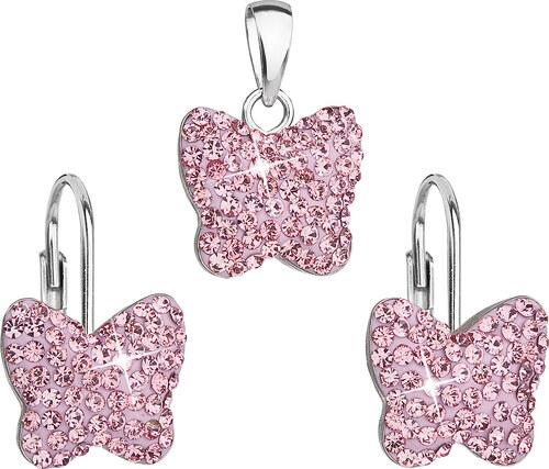 EVOLUTION GROUP Sada šperkov s krištáľmi Swarovski náušnice a prívesok  ružový motýľ 39144.3 c82313b4be8