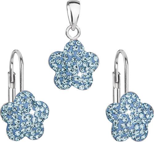 0861c777c EVOLUTION GROUP Sada šperkov s krištáľmi Swarovski náušnice a prívesok  modrý kvietok 39145.3