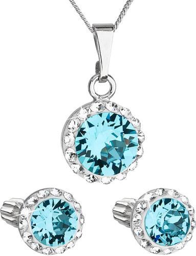 ece04b688 EVOLUTION GROUP Sada šperkov s krištáľmi Swarovski náušnice, retiazka a  prívesok modré okrúhle 39152.3