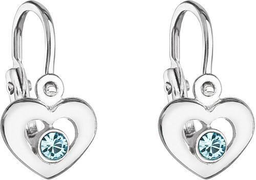 EVOLUTION GROUP Stříbrné dětské náušnice visací s krystaly Swarovski modré  srdce 31199.3 94a4b260e97