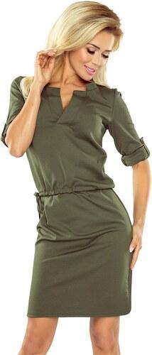 Numoco Dámské šaty Agata s límečkem - khaki - Glami.cz c6eb4d09e1