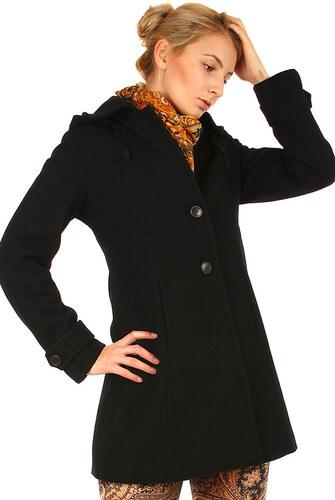 Glara Zimný vlnený čierny kabát aj pre plnoštíhle - Glami.sk 8f2b6a3848e