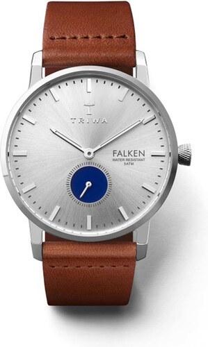 2bf02d0e2fc Unisex hodinky v striebornej farbe s hnedým koženým remienkom TRIWA Blue  Eye Falken
