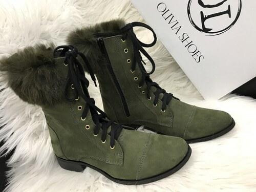 5d570af8df Oliva shoes OLIVIA shoes kožené čižmy s pravou kožušinkou DKO021 green