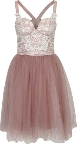 f205a13c5ba6 Staroružové šaty s čipkovaným topom a tylovou sukňou Chi Chi London Selina