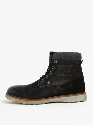 18357a6f65f6 Čierne pánske kožené členkové zimné topánky s.Oliver - Glami.sk
