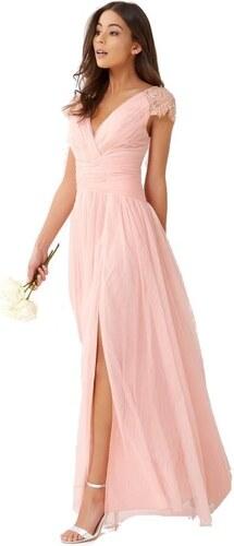 LITTLE MISTRESS Luxusní růžové maxi šaty s krajkovými cap rukávy ... b9ae9842bc