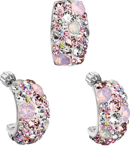 Evolution Group s.r.o. EVOLUTION GROUP Sada šperků s krystaly Swarovski  náušnice a přívěsek růžový obdélník 39116.3 9c3758035d7