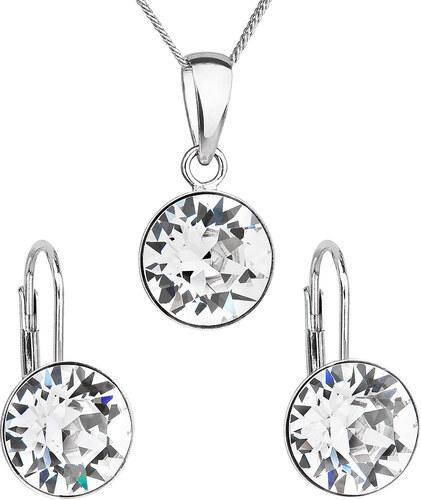 ade2b91ad EVOLUTION GROUP Sada šperků s krystaly Swarovski náušnice a přívěsek bílé  kulaté 39140.1