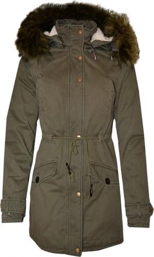 HAILYS Hailys dámská zimní parka Josie s kapucí a kožíškem khaki zelená 080b0e03dfa