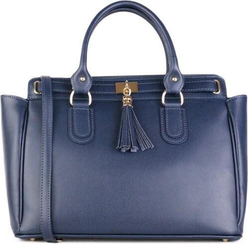 ITALSKÉ Velká kožená kabelka business Italská modrá Ludovica 2fd986488a