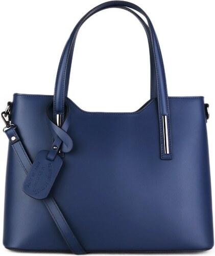 ITALSKÉ Kožená kabelka luxusní Vera Pelle Italská modrá Carina střední 986de0dc868