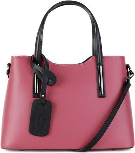 ITALSKÉ Kožená kabelka Vera Pelle Italská růžová v kombinaci s černou  Carina střední 2b2812c047c