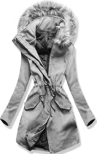 MODOVO Dlhý dámsky kabát s kapucňou 22172 šedý - Glami.sk 11dc73afd82