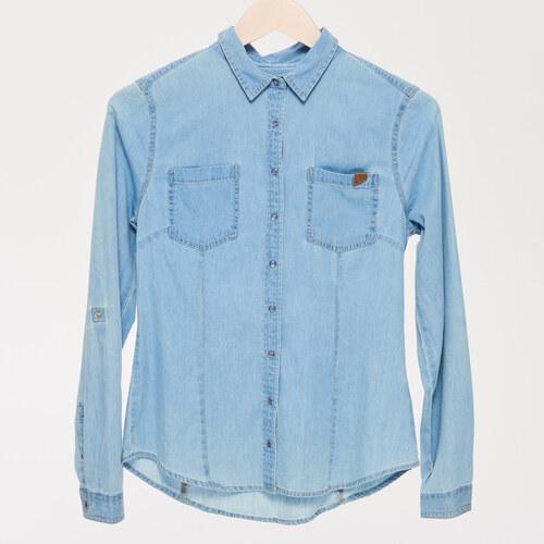 Sinsay - Džínová košile na patentky - Modrá - Glami.cz 3b51accbda