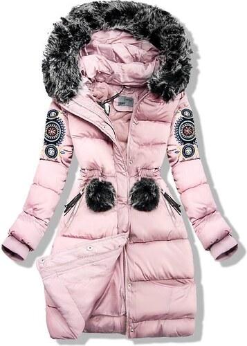 Butikovo Ružová zimná bunda s výšivkou - Glami.sk 734259bfefd