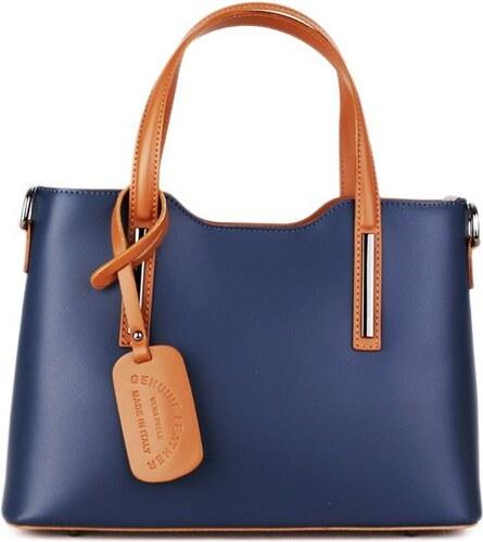 ed1cd7b125 -10% Talianske kožené kabelky luxusné na rameno Carina modré s camel