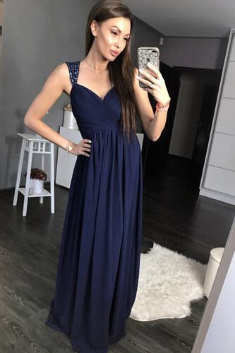 8d8861d61ece Dámské společenské plesové šaty s řasením a kamínky EVA LOLA tmavě modré