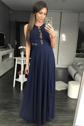 Dámské společenské plesové šaty s průstřihy EVA LOLA tmavě modré ... 3b926c2805