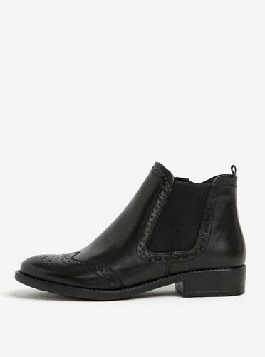 Čierne kožené chelsea brogue topánky Tamaris - Glami.sk 937f6cdb15e