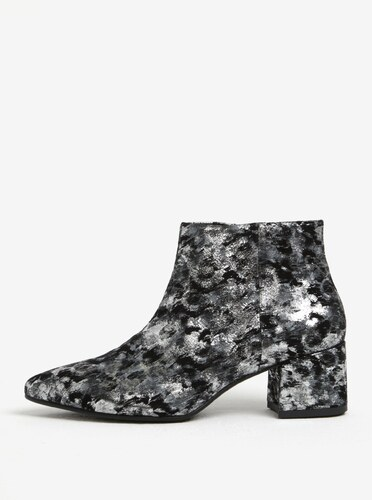 9173a60c9e61 Čierno-sivé dámske kožené vzorované členkové topánky Vagabond Mya ...