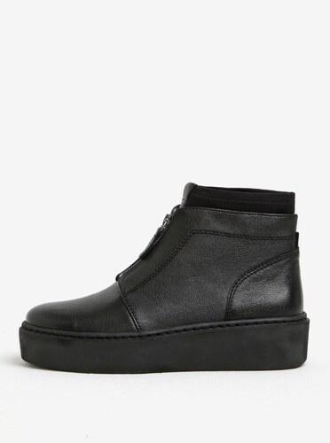 c15cfd744d Čierne kožené členkové topánky na platforme so zipsom Tamaris - Glami.sk