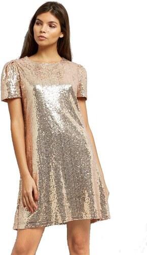 12946bbb0cc7 NEW LOOK Zlaté flitrové šaty s krátkými nabíranými rukávy - Glami.cz