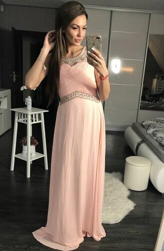 Dámské společenské plesové šaty s kamínky EVA LOLA růžové - Glami.cz 4675baed33