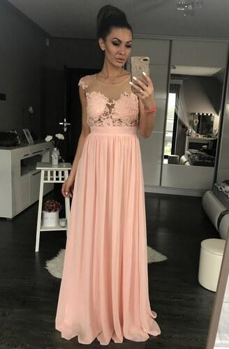 ed8e1329f7b2 Dámské společenské plesové šaty vyšívané dlouhé EVA   LOLA růžové ...