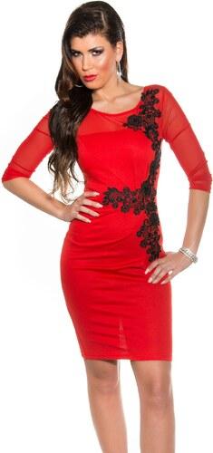 Fekete horgolt csipke díszítésű női alkalmi ruha - Piros (36-42 ... d03cbf5663