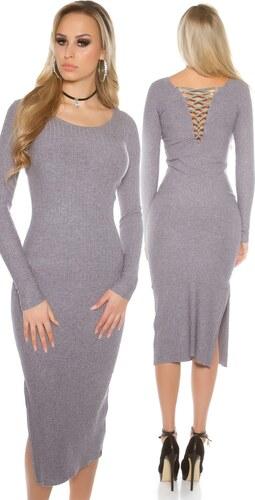 Strikingstyle Dlhé úpletové šaty so šnurovačkou   šedé - Glami.sk 5a163e32402