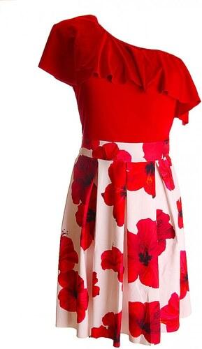 8c951edc76 Ejtett vállú fodros-virágos alkalmi női ruha - (S-XL) - Glami.hu
