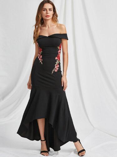 2a0e1e82bfbf BadLady.sk Dlhé čierne spoločenské asymetrické šaty s ružami - Glami.sk