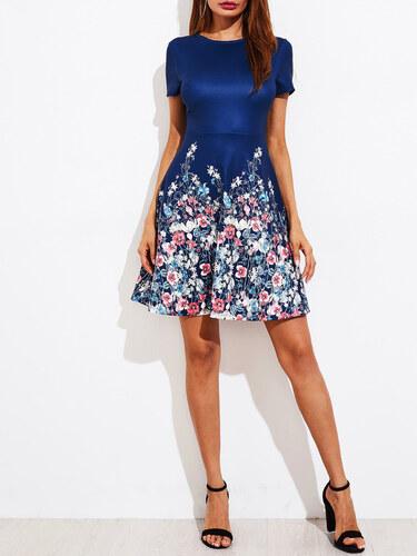BadLady.sk Krátke modré kvetované šaty s áčkovou sukňou - Glami.sk cf7d1648b9f