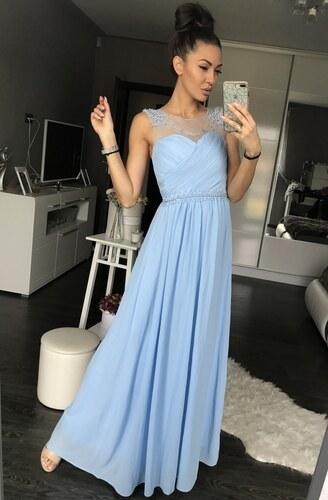 Dámské společenské a plesové šaty dlouhé pošité perličkami EVA   LOLA  světle modré 14bd43c26b