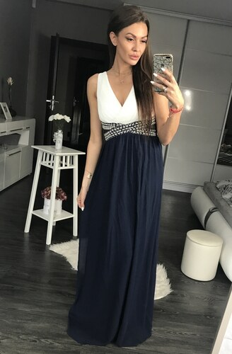 c4865eb7d5b Dámské společenské plesové šaty s průstřihy a perličkami dlouhé EVA   LOLA  tmavě modré