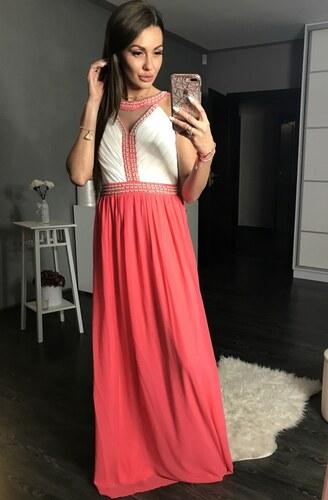 Dámské společenské a plesové šaty pošité perličkami dlouhé EVA   LOLA růžové 4b1967a2ba