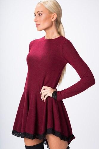 9a4b95955af Fasardi Asymetrické šaty s dlhým rukávom a čipkou na spodnom okraji ...