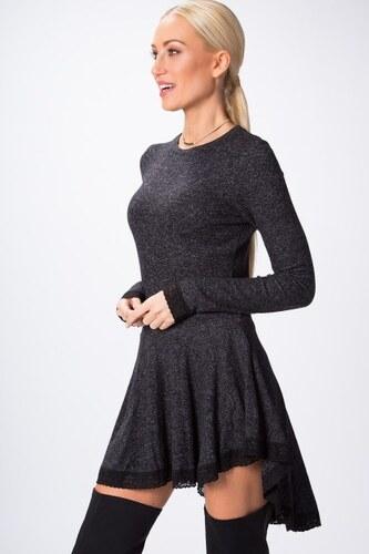 5137fe7cd8c1 Fasardi Asymetrické šaty s dlhým rukávom a čipkou na spodnom okraji ...