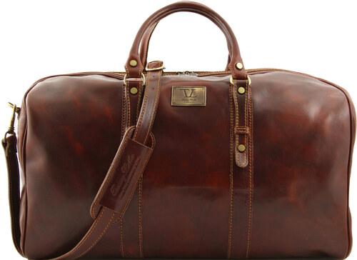Francoforte - Exkluzivní víkendová kožená cestovní taška - velká TUSCANY  LEATHER - hnědá c0f63324a84