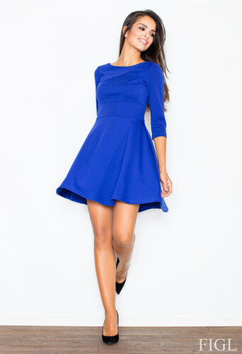 9e877154ac90 FIGL Dámske modré šaty v A línii s kruhovou sukňou a 3 4 rukávmi M081