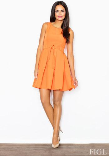 753af7527f0c FIGL Dámske oranžové šaty Retro so skladanou sukňou a opaskom M083 ...