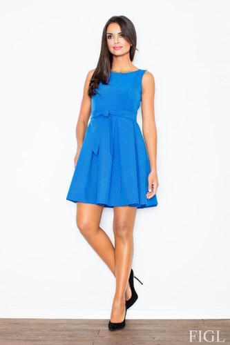FIGL Dámske modré šaty Retro so skladanou sukňou a opaskom M083 ... b8d94d6041b