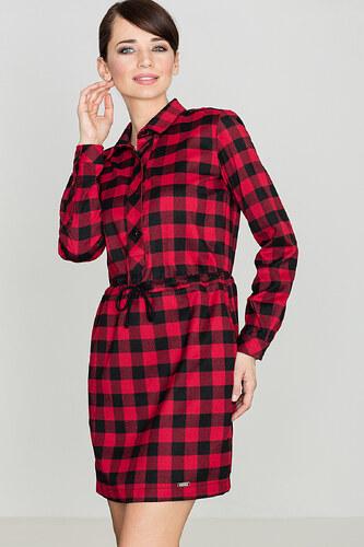 Lenitif Dámske kockované čierno-červené košeľové šaty s opaskom K256 ... dfe375e2fd8